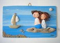 LOVE - Pebble art, hand painted picture, pebble art picture, unique