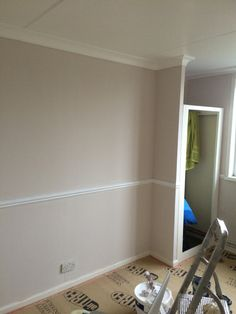 Dulux nutmeg white with white dado rail