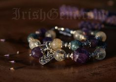 """Enchanted Forest"" 💎Gemstones: Amethyst, Indian Agate and Citrine. Amethyst is a symbol of love and happiness. Agate is a powerful emotional healer and a stone of a good energy and protection. Citrine is called a ""Success Stone"". Indian Agate, Good Energy, Love Symbols, Healer, Bracelet Making, Enchanted, Amethyst, Beaded Bracelets, Happiness"