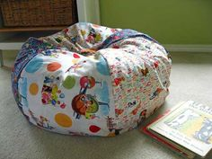 Fabric Crafts - A Bean Bag Chair. Cover it with pretty fabric for a grown up bean bag chair in the living room! Make A Bean Bag Chair, How To Make A Bean Bag, Diy Bean Bag, Kids Bean Bag Chairs, Sewing Tutorials, Sewing Crafts, Sewing Projects, Diy Crafts, Sewing Patterns