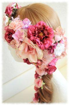 *オーダーメイド*♡フラワーアレンジUピンとたっぷりのローズのヘアアクセサリーとリストレット♡ |【Flower Accessories*M.MODE online shop】