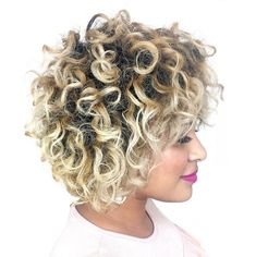60 Styles and Cuts for Naturally Curly Hair - - Natural Short Blonde Hairstyle Cute Short Curly Hairstyles, Curly Hair With Bangs, Curly Hair Cuts, Hairstyles With Bangs, Curly Hair Styles, Cool Hairstyles, Natural Hair Styles, Hairstyle Ideas, Wavy Hair