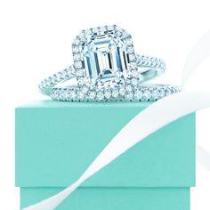 Tiffany Soleste® Emerald Cut diamond engagement ring and diamond band. #TiffanyPinterest #WeddingBand