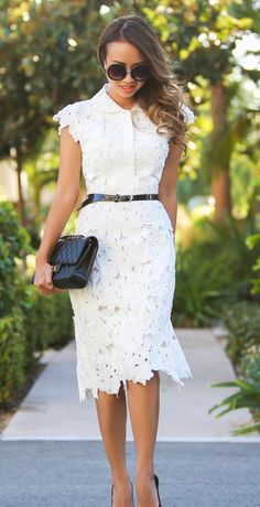 This belted white shift dress is a awesome choice to team with your heels. Full Flower Cut Out Midi Dress featured by Laceandlocks Blog