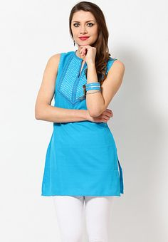 Cotton Solid Blue Kurti - YJHD Collection