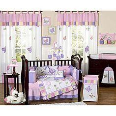 @Overstock - This whimsical butterfly baby bedding set has everything you need to give your little one's room a finished look. All of the 100-percent-cotton pieces have coordinating pink and purple tones.http://www.overstock.com/Baby/Sweet-Jojo-Designs-Butterfly-9-piece-Crib-Bedding-Set/5298432/product.html?CID=214117 $179.99