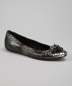 Look what I found on #zulily! Black & Silver Snakeskin Abella Leather Flat by Antia Shoes #zulilyfinds