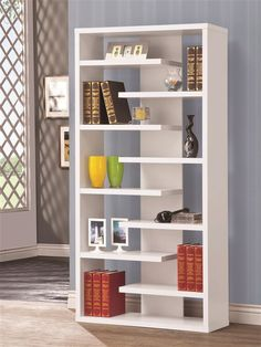 This beautifully designed bookcase creates many options for storing and displaying your items. Use the staggering shelves to add stylish storage to your living room, office, or hallway. This sleek semi-backless bookcase features a center back panel. White Bookshelves, Decorating Bookshelves, Bookshelf Design, Bookcases, Coaster Furniture, Home Furniture, Furniture Design, Shelving, Room Decor