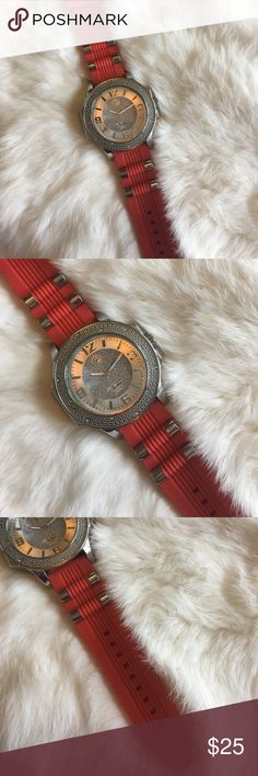 Men's Techno Fashion Watch Do you love a little bling? This red and silver Techno Pavé watch has faux diamonds and large numbers on the face. Sports a rubber watch band. Stainless steel back. Quartz watch. Water resistant. EUC. Techno Pavé Accessories Watches