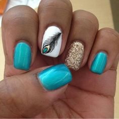 Gel nails with feather