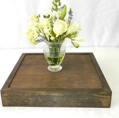 Rustic Wedding Wood Cake Stand (14 x 14 x 2.5) FREE SHIPPING. $29.99, via Etsy.