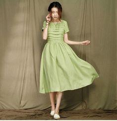 Graceful Long Pleated Maxi Dress - Summer Dress in Green- Linen Sundress for Women-Sleeveless  (R)