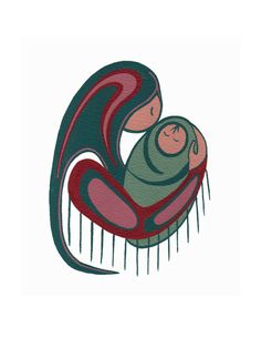 Giclee print of an Original Native art style painting of a Mother and her Child.