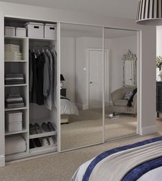 Sliding wardrobe doors are a new addition to to-days modern bedroom as space is a constraint. Sliding wardrobe doors allow a bedroom to appear more spacious as they won't extend into the room when ope Mirrored Wardrobe Doors, Mirror Closet Doors, Sliding Wardrobe Doors, Mirror Door, Sliding Doors, Wardrobe With Mirror, Glass Wardrobe, Mirror Bedroom, Front Doors