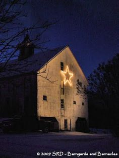 Old Barn...with a lighted star...Lilliput Farm, Ashfield, Mass.