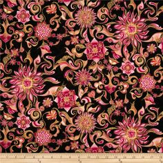 Sweet Flowers Metallic Abstract Floral Sweet Rose, Designed by Mary Capan for Hoffman