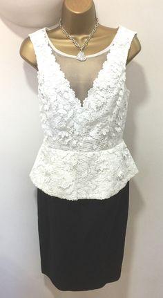Lipsy VIP Embroidered Pencil Dress 12 Lace Black White Peplum Wedding Occasion
