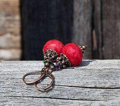 gabi111 / Červené jadeity s fialkovou - náušnice