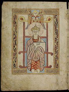 """St. Gall Gospels, miniature pleine page, p.2: Saint Matthew. Artiste: scribe et enlumineur anonymes irlandais, entre le milieu du 8°s et le début du 9°s.- ENLUMINURE CAROLINGIENNE, 2) PRECURSEURS ET INFLUENCES, 2.2 ENLUMINURE INSULAIRE, 5: Des moines irlandais fondent aux 6° et 7°s dans toute la France, l'Allemagne, et même l'Italie, des abbayes, qu'on appelle improprement """"abbayes écossaises""""."""