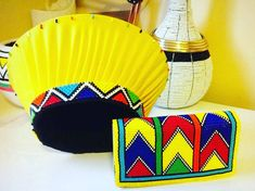 Ndebele and Zulu traditional beaded hat and clutch purse set Zulu Traditional Attire, Zulu Traditional Wedding, South African Traditional Dresses, African Hats, African Attire, African Accessories, African Jewelry, African Print Fashion, African Fashion Dresses