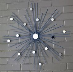 "SHIPS NOW!  26"" Hand Welded Steel Starburst Sunburst Coastal Blue Chalk Modern Metal Wall Art Mirror Sculpture Atomic Interior Home Staging"