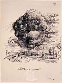 """""""Beethoven's cranium"""". Ilustración para la primera edición de """"The Secret Life of Salvador Dalí"""" - 1939/41 - Tinta sobre papel"""