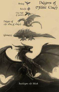 "the-clockmakers-daughter: ""raikoh14: "" Felt like drawing this which is about famous dragons that lived on Middle Earth. If people thought Smaug was huge, well he is basically an ant compared to..."