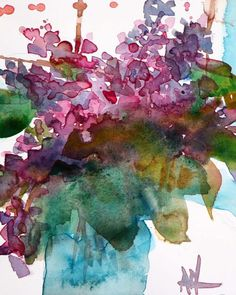 Lilacs in Blue Vase Original Watercolor Painting by Angela Moulton