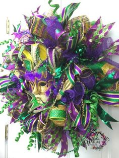 Mardi Gras Wreath Video — How To Make Deco Mesh Wreaths — A perfect wreath made by YOU