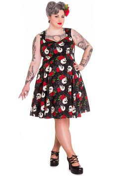 7c826e63c78 Hell Bunny Plus Size Gothic Beautiful Dark Side Queen Skull   Rose Flare  Party Dress - Skelapparel - 1. Kate s Clothing
