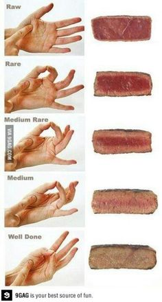 How to tell the consistency of your steak with your hands! Stop cutting into your steak while it is cooking. Any chef or cook determines doneness by feeling it. Also, let the steak rest for 5 to 10 minutes before cutting into it. Think Food, Food For Thought, Love Food, Cooking Tips, Cooking Recipes, Cooking Steak, Cooking Food, Cooking Videos, Perfect Steak