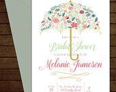 Printable Floral Umbrella Bridal Shower Invitation-Print Yourself-Digital Invite