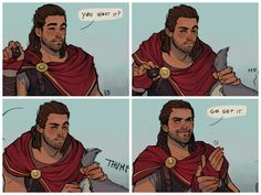 Good job, Alexios XD Art by bbscketches Assassins Creed Memes, Assassins Creed Odyssey, All Assassin's Creed, Assassin's Creed Black, A Hat In Time, Anime Manga, Anime Demon, Skyrim, Game Of Life