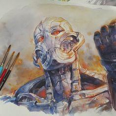 """Ultron"" -- watercolor by leowdrawingclass"