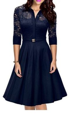 Elegant Navy Blue Lace Shirt Collar 3/4 Sleeve Lace Design Cut Out Midi Dress…