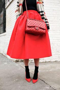 Skirt: Tibi. Turtleneck: Calypso. Shoes: CH Carolina Herrera. Bag: Chanel via BellaBag. Jacket: Storets. Sunglasses: Karen Walker 'Super Duper'. Lips: Stila Beso.