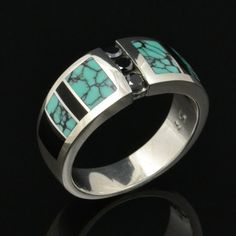 Las Black Diamond Ring Inlaid With Spiderweb Turquoise And Onyx By Hileman Silver Jewelry
