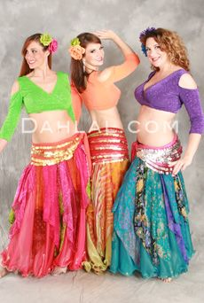 MULTI-COLORED, PRINTED CHIFFON HANDKERCHIEF SKIRTS WITH SMOCKED HIPS