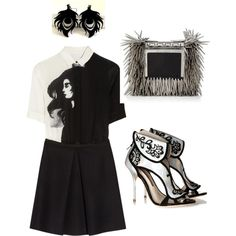 Outfit Of The Day by ivka-x on Polyvore featuring polyvore, fashion, style, Victoria, Victoria Beckham, Sophia Webster and Jimmy Choo