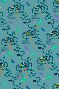 'Paradise Parade– Teal' Non woven Wallpaper. x Roll. Printed by Surface Print, fine grade wallpaper printers and environmentally friendly manufacturers in the UK. Baby Bedroom, About Uk, Projects To Try, Teal, Wall Decor, Textiles, Printers, Digital, Wallpaper
