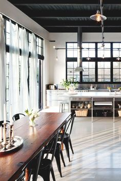 open concept industrial dining & kitchen
