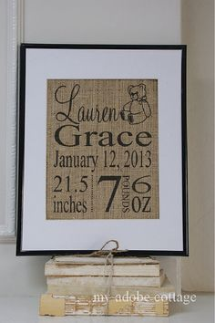 Personalized Burlap Wedding Print... Great for by myadobecottage