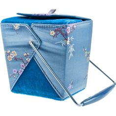 Blossom Chow Time Takeout Purse ($35) ❤ liked on Polyvore featuring bags, handbags, cherry blossom purse, foldable bag, blue purse, flower handbag and hand bags