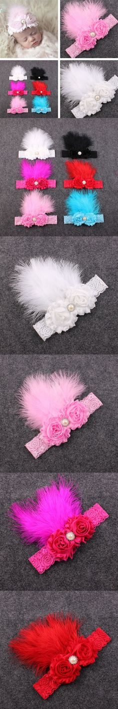Feather headbands flower hairband hair bands newborn headdress headband baby girl elastic for ribbon head band accessories wraps $2.58