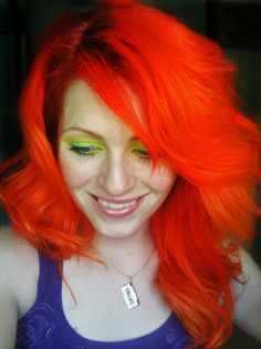 SFX hi octane orange, with un bleached roots. That is some fabulous hair! And I like it with the lime green eyeshadow!