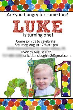 Hungry Caterpillar Birthday Invitation