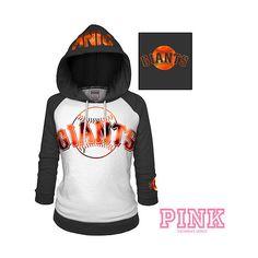 San Francisco Giants Victoria's Secret PINK Raglan Pullover Hoodie ($50) found on Polyvore