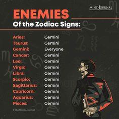 Enemies of the Zodiac Signs: Aries: Gemini; Taurus: Gemini; Gemini: Everyone; Cancer: Gemini; Leo: Gemini; Virgo: Gemini; Libra: Gemini; Scorpio: Gemini; Sagittarius: Gemini; Capricorn: Gemini; Aquarius: Gemini; Pisces: Gemini