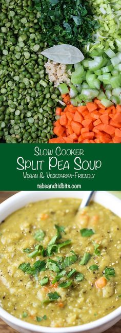 Cooker Split Pea Soup Slow Cooker Split Pea Soup - A vegan amp; vegetarian-friendly split pea soup made in the slow cooker.Slow Cooker Split Pea Soup - A vegan amp; vegetarian-friendly split pea soup made in the slow cooker. Crock Pot Recipes, Crock Pot Cooking, Slow Cooker Recipes, Veggie Recipes, Whole Food Recipes, Cooking Recipes, Healthy Recipes, Easy Recipes, Crock Pots