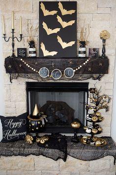 Halloween mantel in black and gold. #halloween #decor homechanneltv.com